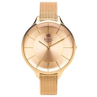 Ženski Royal London Sleek Zlatni Elegantni ručni sat sa zlatnim pancir kaišem