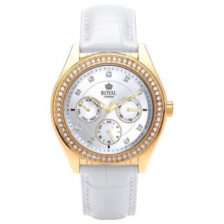 Ženski Royal London Spotlight Zlatni Modni ručni sat sa belim kroko kožnim kaišem