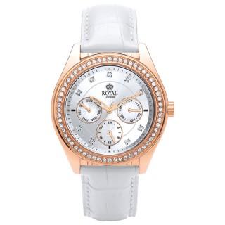 Ženski Royal London Spotlight Roze Zlatni Modni ručni sat sa belim kroko kožnim kaišem