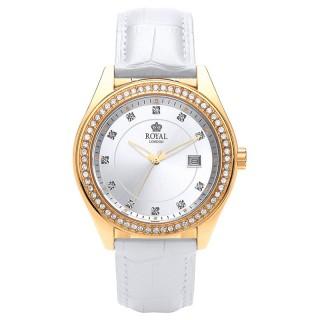 Ženski Royal London Spotlight Beli Zlatni Modni ručni sat sa belim kožnim kaišem