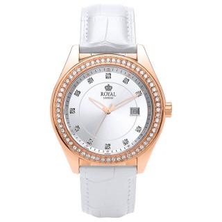 Ženski Royal London Spotlight Beli Roze Zlatni Modni ručni sat sa belim kožnim kaišem