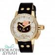 Dečji Hello Kitty Svetlucavi Zlatni ručni sat sa crnim kožnim kaišem